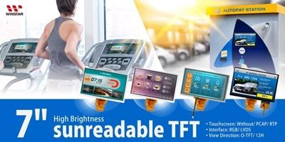 TFT 7'' 1024x600, LVDS, IPS, HB 1100cd/m², opzione TP