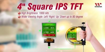 Square TFT 4'' 480x480, MIPI, IPS, HB 1000cd/m²,  -30/80°C, TP option