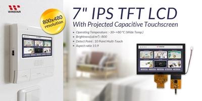 Touch TFT 7'' RGB-LVDS, IPS, 1000nits, -30°C~+80°C